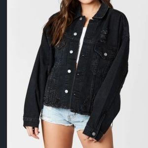 NWT Black Distressed Jean Jacket